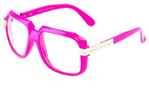 Gazelle Emcee Oversized Square Sunglasses w/ Clear Lenses (Neon Pink & Silver Frame, - Sunglasses Gazelles