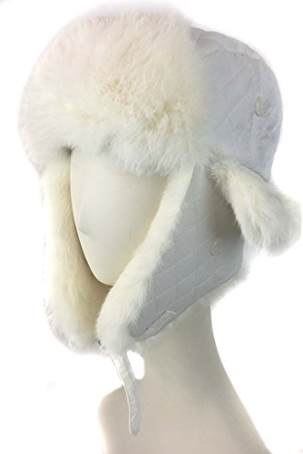 ad4041fc75bed surell Trapper Aviator Hat with Rabbit Fur Trim - Warm Bomber Trooper Hat -  Perfect Winter