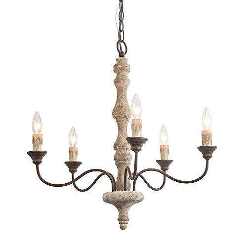 - LNC A03471 Chandelier, Distressed Wood/Rusted Iron 5-Light Pendant Lighting, French Country Style and Adjustable