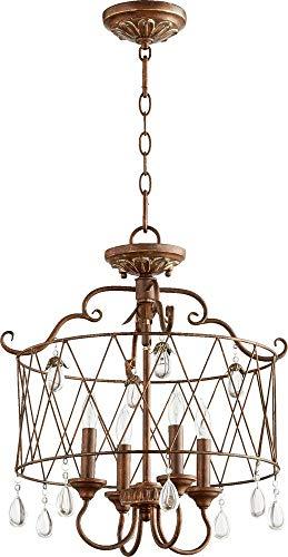 Quorum Lighting 2844-4-39, Venice Drum Pendant, 4 Light, 80 Total Watts, Vintage Copper