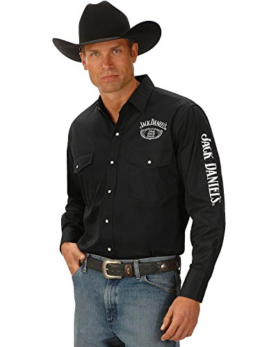 Jack Daniels Men's Daniel's Logo Rodeo Cowboy Shirt Black XX-Large