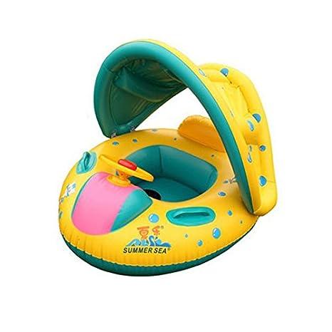 Baby Natación flotador Boot con sombrilla Asiento con cuerno - Amarillo: Amazon.es: Bebé