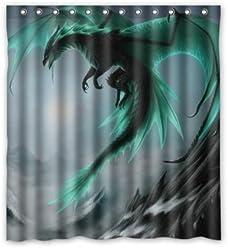 Special Design Flying Dragon Pattern Waterproof Bathroom Fabric Shower CurtainBathroom Decor 66 X 72