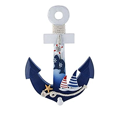 WINOMO Wall Hanging Ornament Anchor Shape Wooden Nautical Anchor Hook Marine Decoration 28x20cm