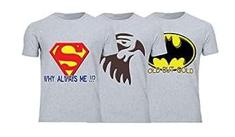 Geek ET1795 Set Of 3 T-Shirt For Men-Grey, 3 Xlarge
