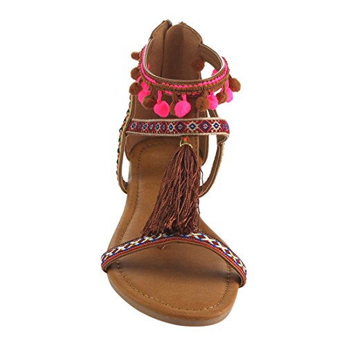 Sandals Flat Camel Wrap Ankle Womens Beston Boho Embroidered FH92 Pompom S866xv