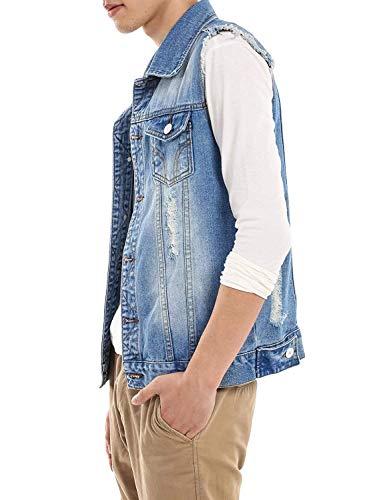 Nappa Nappa Nappa HaiDean Senza Di Strappi Jeans Con Moderna Con Casual Casual Maniche Hellblau Vest Vestito Giacca Strappati Fibbia Risvolto Jeans Metallica Denim Gilet Vestito Outwear rU6q5r