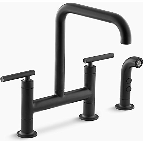 Collection Deck Mount Kitchen Faucet - KOHLER K-7548-4-BL Purist Deck-Mount Bridge Faucet with Sidespray, Matte Black