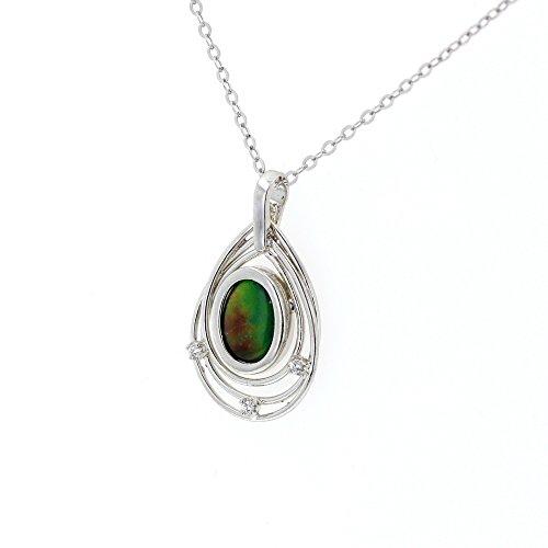 Ammolite Pendant, Silver & Cubic Zirconia Ammolite Pendant with 18
