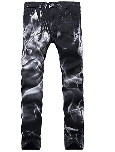 (Lavnis Men's Black Printed with Skull Wolf Head Distressed Ripped Long Straight Slim Fit Skinny Jeans Pants Style)