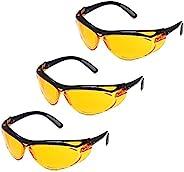 Amazon Basics Blue Light Blocking Safety Glasses Eye Protection, Anti-Fog, Orange Lens, 3-Count