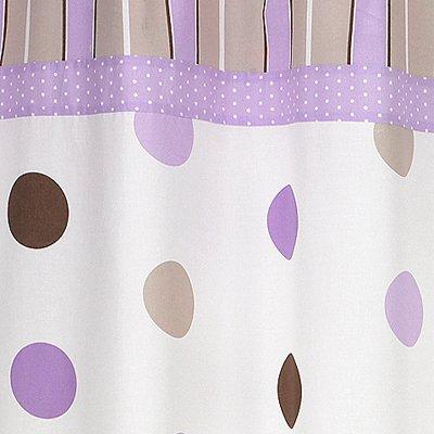 Sweet Jojo Designs Purple and Brown Mod Dots Kids Bathroom Fabric Bath Shower Curtain