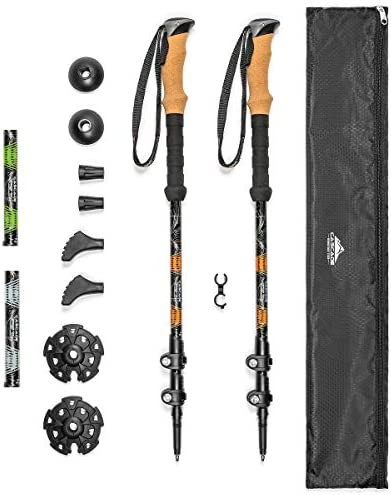 "Cascade Mountain Tech Trekking Poles - Aluminum Hiking Walking Sticks with Adjustable Locks Expandable to 54"" (Set of two)"