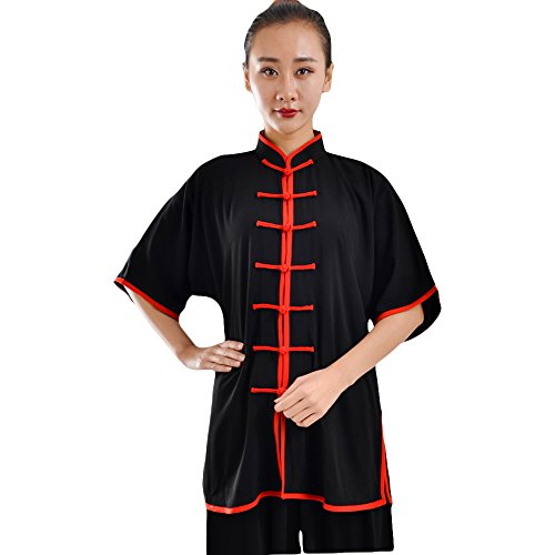 ZooBoo Unisex Cotton Blend Short Sleeves Tai Chi Suit Morning Exercise Uniform Kung Fu Clothing (XXL, Black Red)