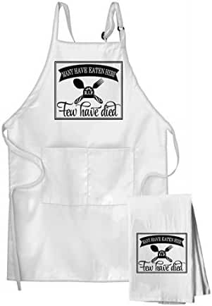 Many Have Eaten Here, Few Have Died Day Flour Sack Kitchen Towel & Apron Set
