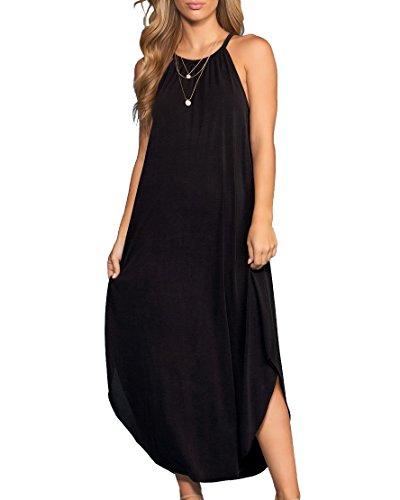 Imysty Womens Sleeveless Racerback Maxi Dresses Halter Neck Casual Loose Long Dress