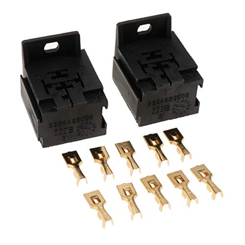 B Blesiya 2x Relay Holders [5 Relays] [Easy Installation] [ 10x 6.3mm Brass Terminals ] - Relay Box for Automotive and Marine Use:
