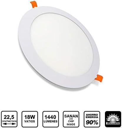Panel LED Redondo ECOMAX · Downlight LED para Encastrar Extrafino de 18W con 1440 Lúmenes · 4500K Luz Blanca Neutro · LED con 225mm de diámetro [Clase Energética A++]: Amazon.es: Bricolaje y herramientas