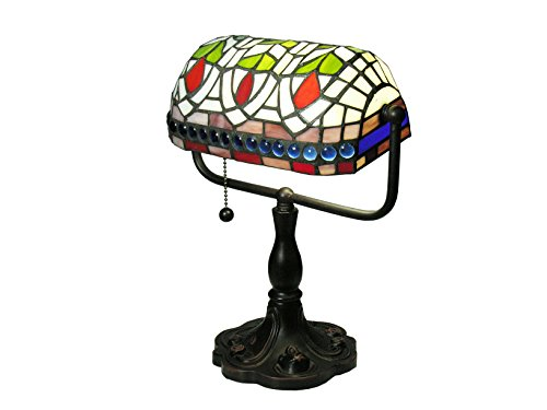 Warehouse of Tiffany KS20+MB50 Tiffany-style Art Glass Desk Lamp, Blue/Green