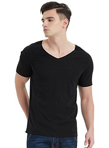 's Seamless Undershirts Comfort Soft Short-Sleeve V-Neck Cotton T-Shirt Vee Tee (XL, Black) (Essential V-neck T-shirt)