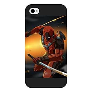 UniqueBox Customized Marvel Series Case for iPhone 4 4S, Marvel Comic Hero Deadpool iPhone 4 4S Case, Only Fit for Apple iPhone 4 4S (Black Frosted Case)