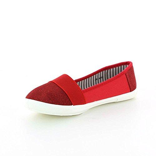 Bailarinas tela y de brillante Rojo Rojo qU7qr1