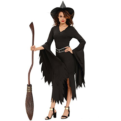 Out Of The Closet Halloween Costumes (Fashion Halloween Black Gothic Women's Elegant Witch Costume V-neck Skirt Fork Horn Irregular Sleeves Dress)