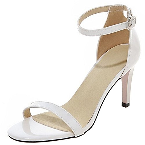 COOLCEPT Damen Fashion Strappy Shoes Open Toe Kn?Chelriemchen Sandalen Stiletto White