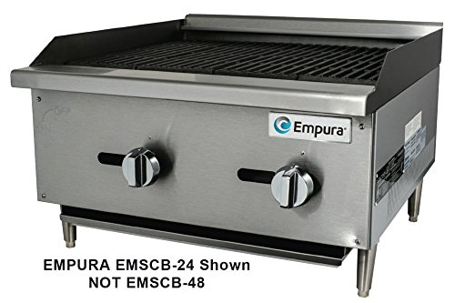 Empura EMSCB-48 Medium Duty Stainless Steel 48'' Countertop Charbroiler Gas with 4 Manual Controls Burners, 112,000 BTU by Empura