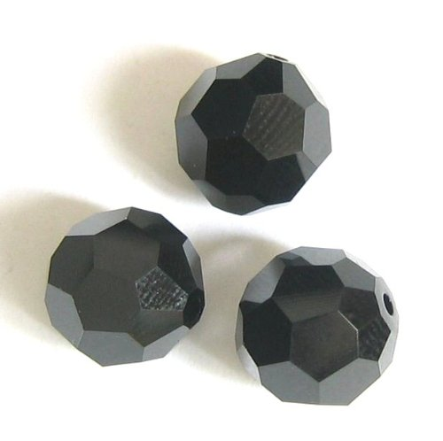 (12 pcs Swarovski Crystal 5000 Round Faceted Bead Jet Black 6mm / Findings / Crystallized Element)