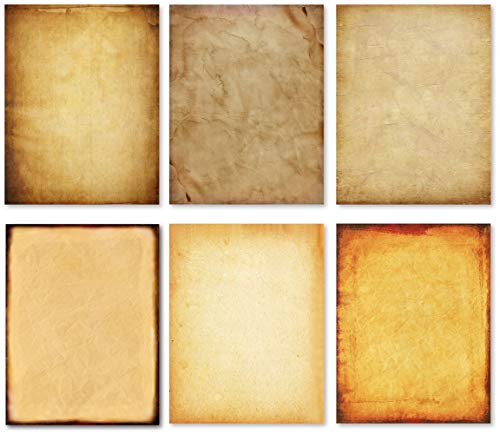 Stationery Paper - Old Fashion Aged Classic Antique & Vintage Assorted Design - Double-side Parchment Paper - Perfect for Certificate, Crafting, Invitations & other Art Projects - 8.5x11 Inches (120)