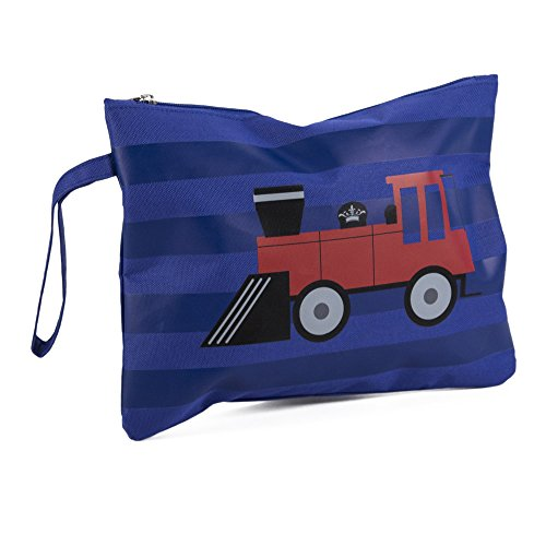 Polyester Lined - Trains Blue Red 12 x 9 Inch Kids Polyester Lined Wet Dry Bag