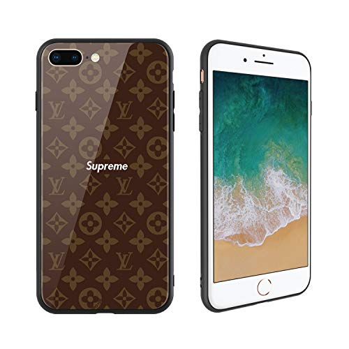 Fashion Brand 236 Design, Tempered Glass Case for iPhone7 Plus and iPhone8 Plus, Soft Silicone Bumper Anti-Scratch Ultra-Thin, iPhone7 Plus and iPhone8 Plus Phone Cover for Girls, Teens, Women (Girls Louis Vuitton)