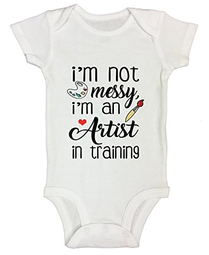 """Painting Onesie Shirt """"I'm Not Messy I'm an Artist in Training"""" Funny Threadz Toddler T3 T-Shirt, White"""