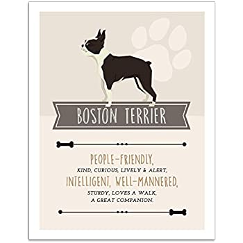 Boston Terrier Dog Wall Art - 11x14 Unframed Decor Print - Makes a Great Gift Under $15 for Dog & Pet Animal Lovers