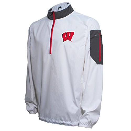 NCAA Wisconsin Badgers Men's Crable Lightweight Windbreaker Pullover, XX-Large, White/Red (Wisconsin Pullover Badgers)