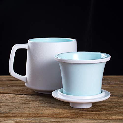SULIVES Ceramic Tea Mug with Infuser and Lid, 14 OZ Tea Brewing Cup with Porcelain Strainer Basket for Loose Leaf Tea Maker, Green Tea, Steeping, Lotus or Gift for Tea Lover (White)