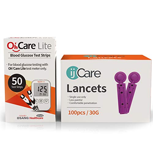 ijCare (5% Off) Bundle n Save Pack for Oh'Care Lite Blood Sugar Testing Monitor - Glucose Test Strips and Lancets for for Blood Testing - Accurate and Affordable Diabetic Supplies