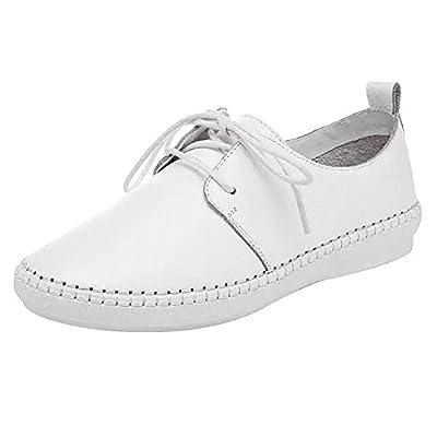 rismart Women's Soft Leather Lace-up/Slip-on Flats Comfortable Hospital Nursing Shoes
