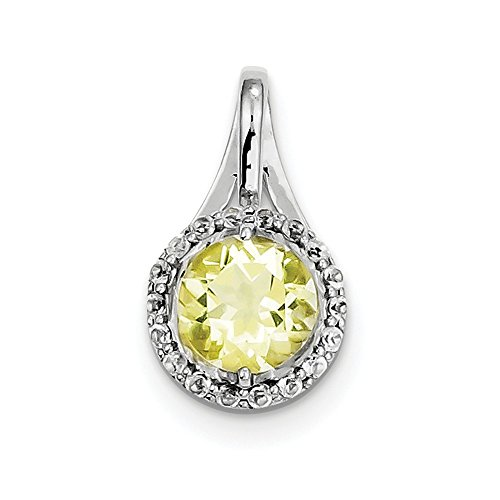 (Sterling Silver White Topaz & Lemon Quartz Circle Pendant)