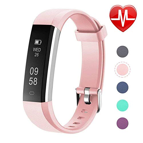 Letsfit Fitness Tracker, Slim Activity Tracker with Heart Rate Monitor, Pedometer Watch, Sleep Monitor, Step Counter, Calorie Counter, Waterproof Fitness Band for Kids Women and Men (Pink) (Pink)