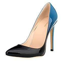 ZriEy Women Sexy Pumps Closed Pointed Toe High Heels Shoes Patent Leather Party Wedding Shoes Blue Size 6M
