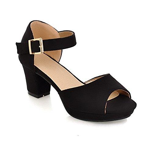 Adee Girls Kitten-Heels Peep-Toe Frosted Sandals Black 9YNGfr