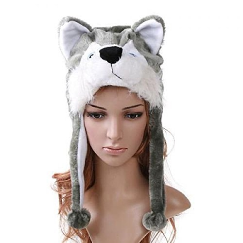 Easy-W Husky_Cute Cartoon Animal Winter Hat Plush Warm Fluffy Soft Lovely - Unisex by Easy-W
