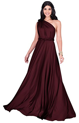 KOH Maroon Long One Wine Dress Womens Wrap Red Shoulder Cocktail KOH Convertible Maxi Bridesmaid TRpTrqZxw