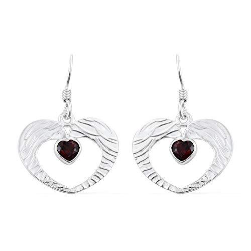 Boho & Hippie Sterling Silver Earrings for Gift, Drop Earrings, Heart Garnet Earring, Dangle ()