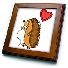 3dRose All Smiles Art Love - Funny Cool Hedgehog with Love Balloon Cartoon - 8x8 Framed Tile (ft_265133_1)