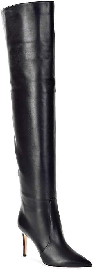 MKXF Damen High Heel Overknee Stiefel Schwarz