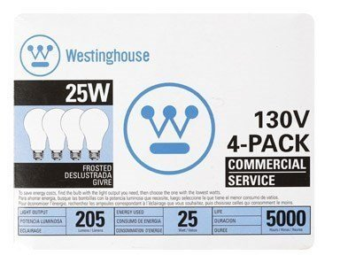 Westinghouse Commercial Service Frosted Light Bulb 25 W 205 Lumens A19 Med Base Box / 1