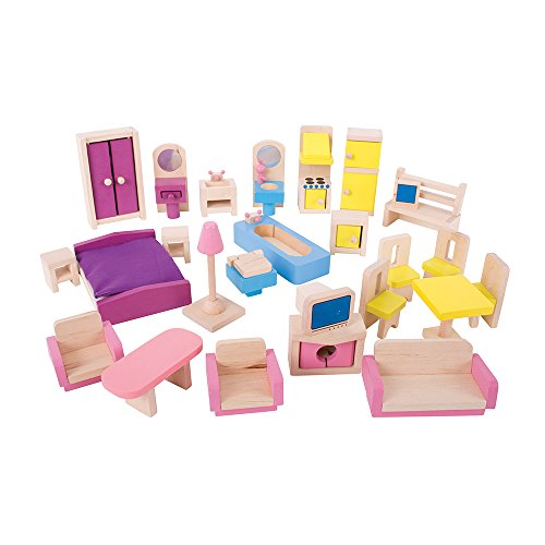 Bigjigs Toys Heritage Playset Wooden Doll Furniture Set - 27 Pieces (Playhouse Furniture)